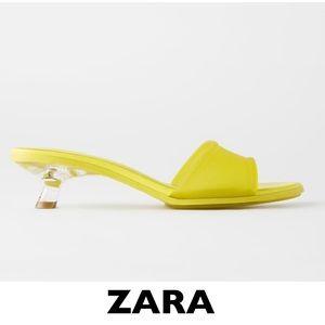 ZARA Yellow Rubber Kitten Heel Sandals EUR 39 US 8